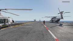 Die Fluggeräte UH-1Y und CH-53.